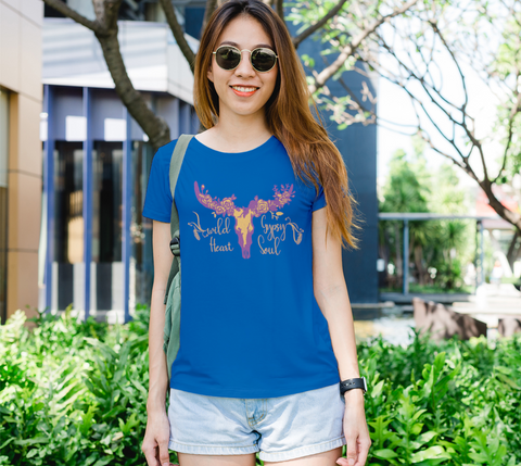"""Wild Heart Gypsy Soul II"" Women's Royal Blue Slim-Fit T-Shirt"