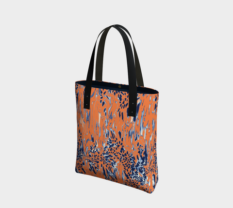 Orange 'Navy Big Cats' Chic Tote