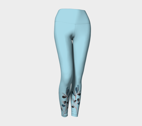 Aqua Botanical Yoga Leggings