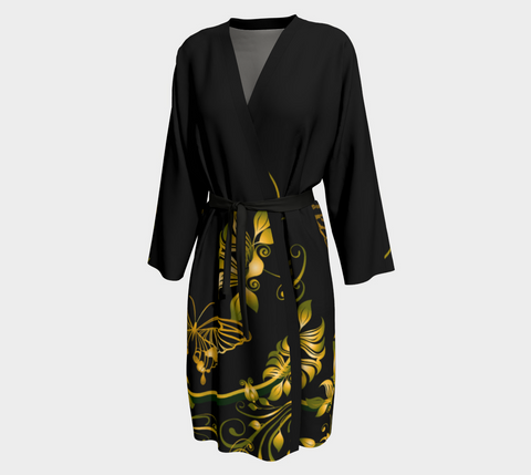 Black/Green/Gold Butterfly Long Kimono