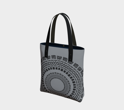 Dove Gray & Black Circles  African Motif Chic Tote Bag