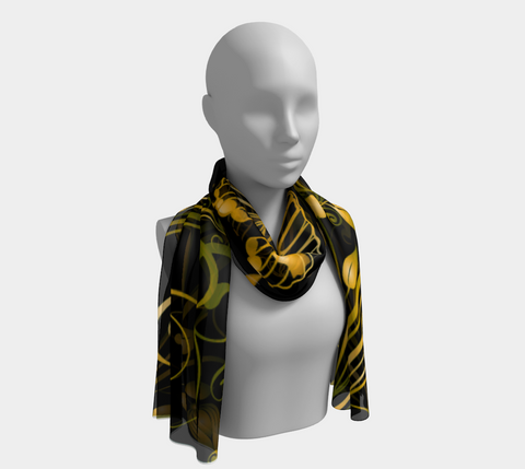 Black/Green/Gold Butterfly Long Scarf