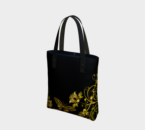 Black/Green/Gold Butterfly Chic Tote