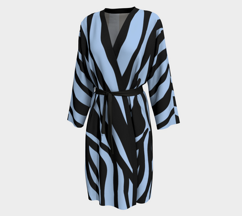 Light Blue/Black Stripe Tahiti Long Kimono