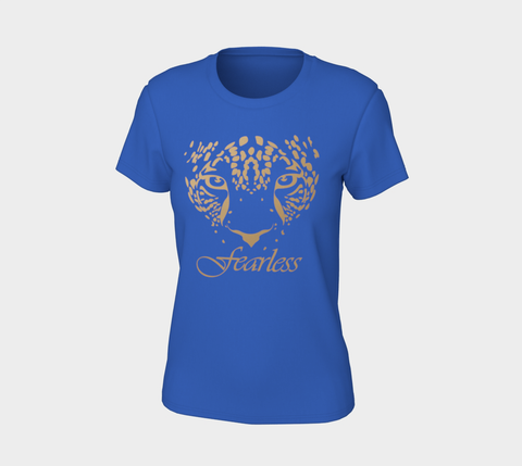 """Fearless"" Royal Blue Gold Leopard Logo Slim-Fit T-Shirt"