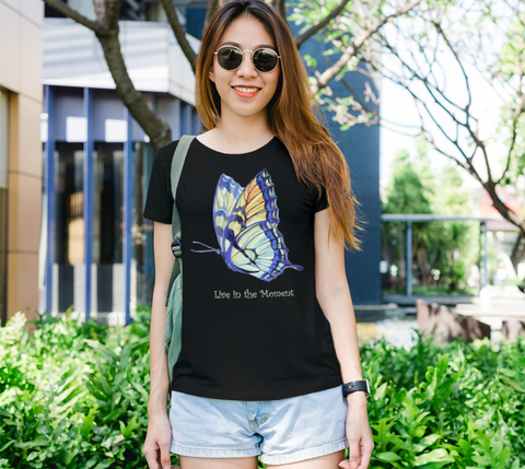 """Live in the Moment"" Women's Watercolor Butterflies II Black Slim-Fit T-Shirt"