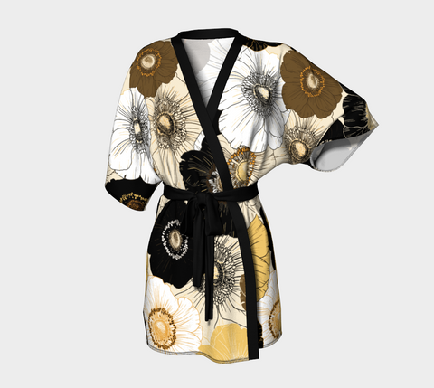 Gold/Cream/Black Bold Blooms Short Kimono