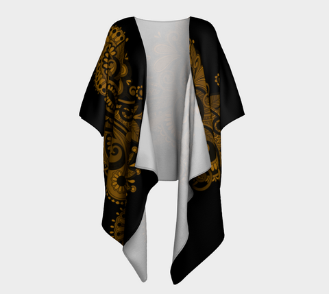 Black/Gold Whimsical Paisley Draped Kimono