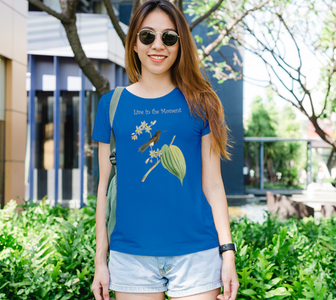 """Live in the Moment"" Brown Hummingbird Royal Blue Slim-Fit T-Shirt"