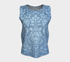 Vintage Damask Blue Bayou Relaxed Fit Tank Top (Long)