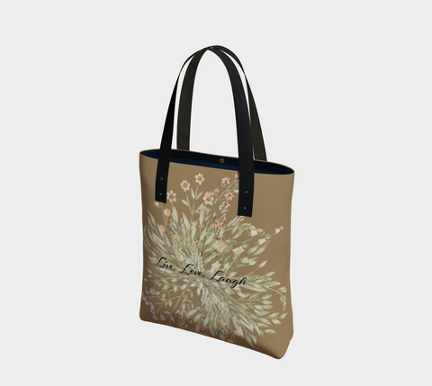 """Live, Love, Laugh"" Burma Tan Watercolor Flowers Chic Tote"