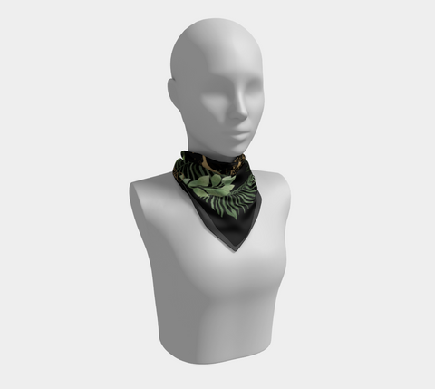 Fearless/Fierce/Fabulous Gold Leopard on Fern & Black Square Scarf/Shawl
