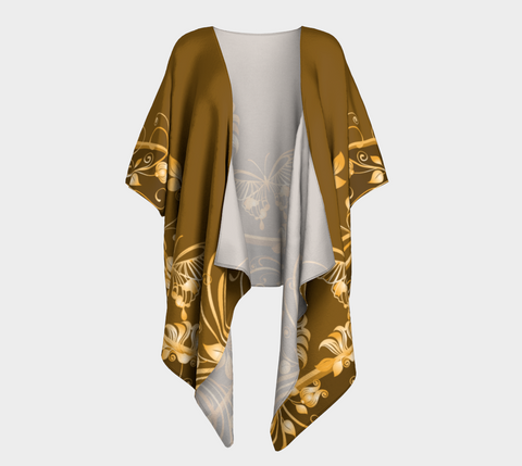 Brown/Gold Butterfly Draped Kimono