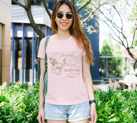 "Horse Lovers ""I will dance..."" Women's Gold Galloping Horse Pink Slim-Fit T-Shirt"