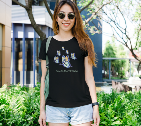 """Live in the Moment"" Women's Watercolor Butterflies Black Slim-Fit T-Shirt"