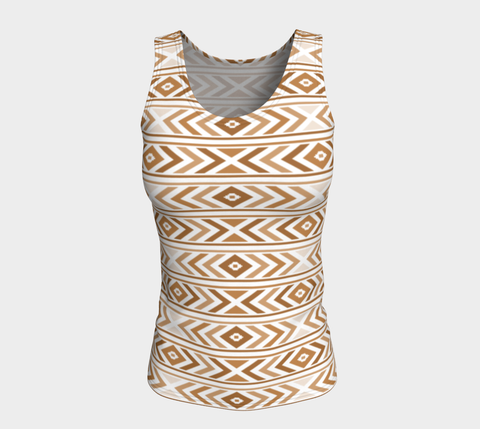 Tan Chevron Fitted Tank Top (Long)