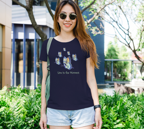 """Live in the Moment"" Women's Watercolor Butterflies Navy Slim-Fit T-Shirt"