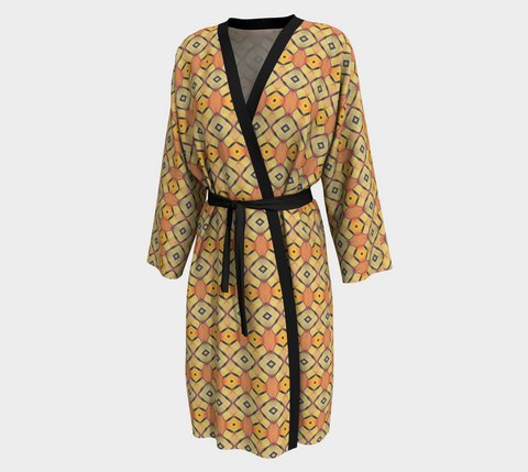 Golden Orange African Motif Long Kimono
