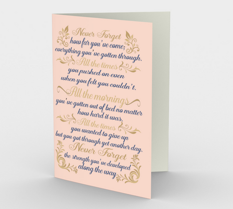 ":Never forget how far you've come..."" Pretty Pink Watercolor Flowers Card (3 Pack)"