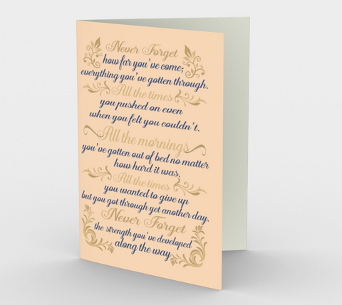 """Never forget how far you've come..."" Creamy Peach Watercolor Flowers Card (3 Pack)"