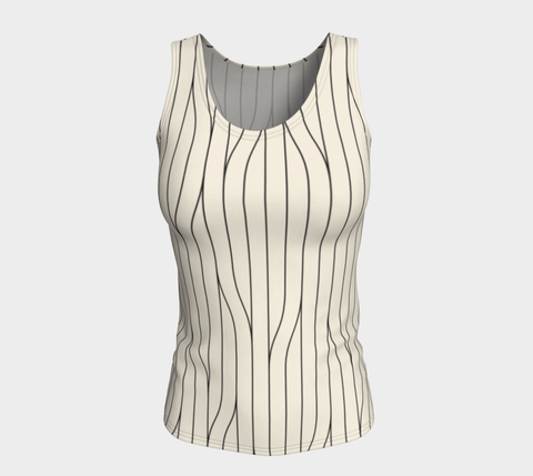 Chamois Stripes Savanna Neutral Fitted Tank Top (Long)