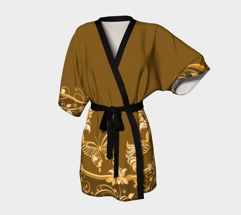 Brown/Gold Butterfly Short Kimono