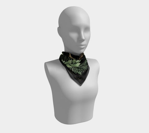 Fern Gold Leopard Signature Black Square Scarf/Shawl