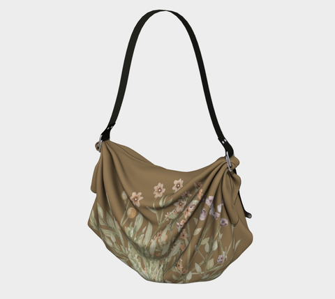 Burma Tan Watercolor Flowers Origami Bag/Shawl/Scarf
