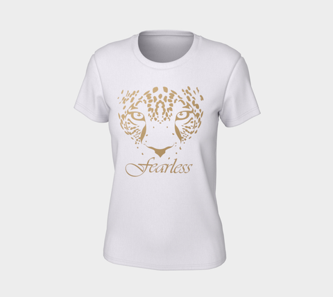 """Fearless"" Women's White Gold Leopard Logo Slim-Fit T-Shirt"