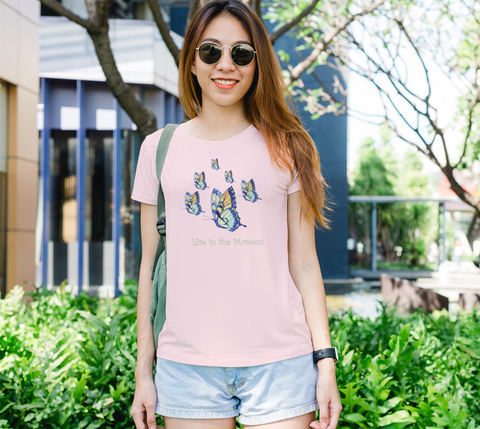 """Live in the Moment"" Women's Watercolor Butterflies Pink Slim-Fit T-Shirt"