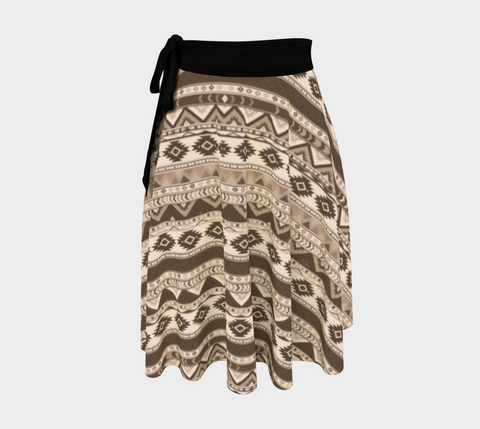 Sepia Chevron Amazing One-Size Wrap Skirt