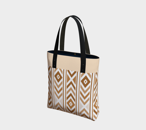 Vanilla Tan Chevron Chic Tote Bag