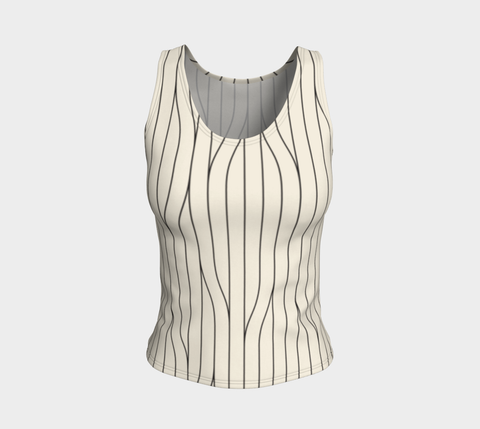 Chamois Stripes Savanna Neutral Fitted Tank Top (Regular)