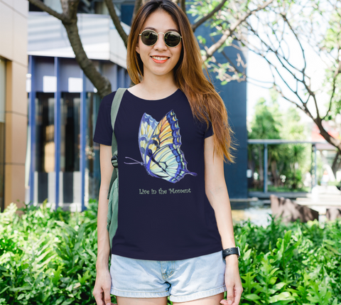 """Live in the Moment"" Women's Watercolor Butterflies II Navy Slim-Fit T-shirt"