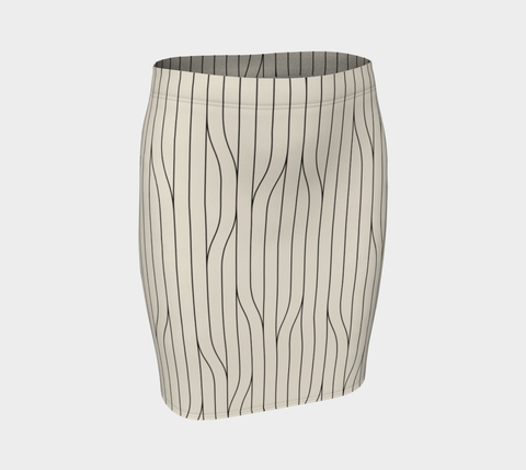 Chamois Stripes Savanna Neutral Fitted Skirt