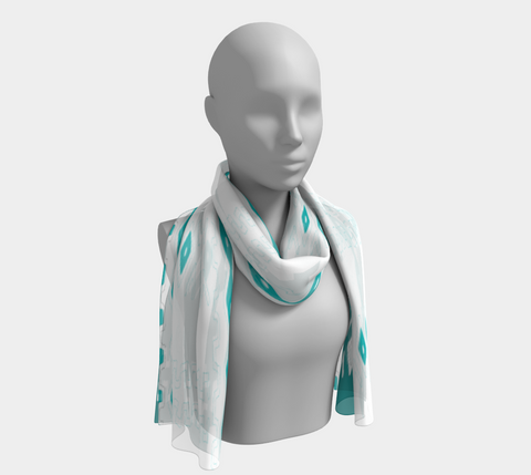 Teal, Turquoise, and White  African Motif Long Scarf