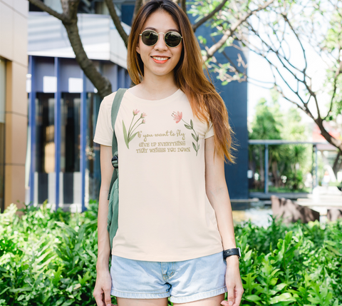 """If you want to fly..."" Watercolor Flowers Women's Slim-Fit Cream T-Shirt"