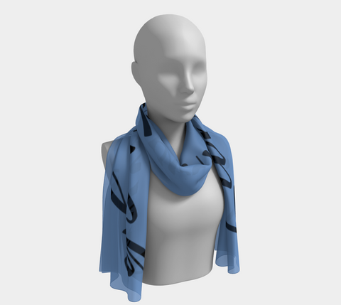 "Blue ""Live, Love, Laugh"" Inspirations Long Scarf"