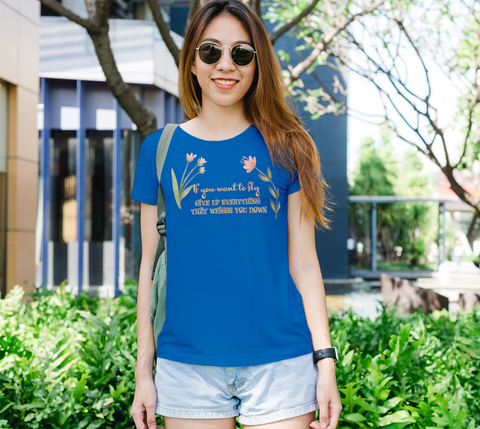 """If you want to fly..."" Watercolor Flowers Women's Slim-Fit Royal Blue T-Shirt"