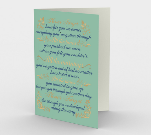 """Never forget how far you've come..."" African Turquoise Watercolor Flowers Card (3 Pack)"