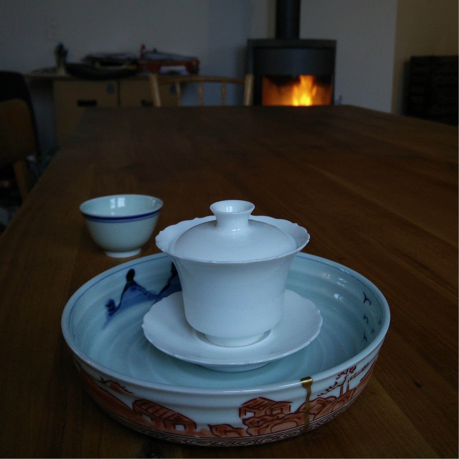 thin elegant white gaiwan