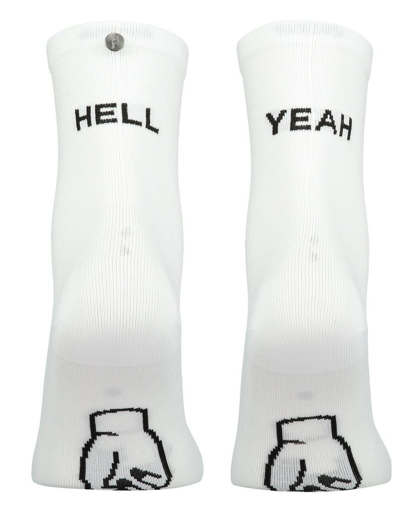 FINGERSCROSSED white Hell Yeah cycling performance racing socks from The Cycling Store