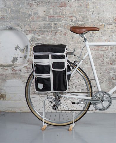 The Cycling Store - Essential Commuting Kit - cycling bags - The Cycling Store x Goodordering - monochrome bicycle pannier bag - black - white