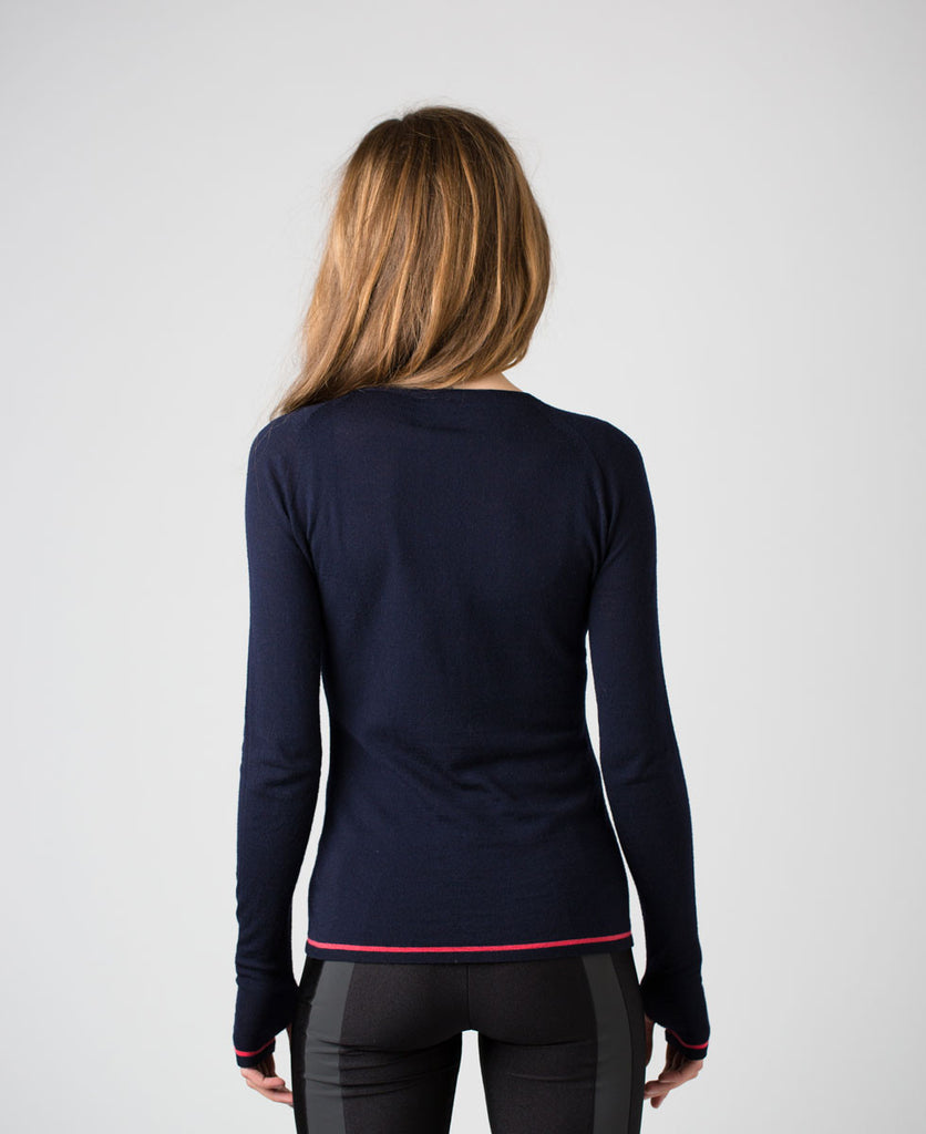 Findra merino navy longsleeved crew jumper sweater from The Cycling Store