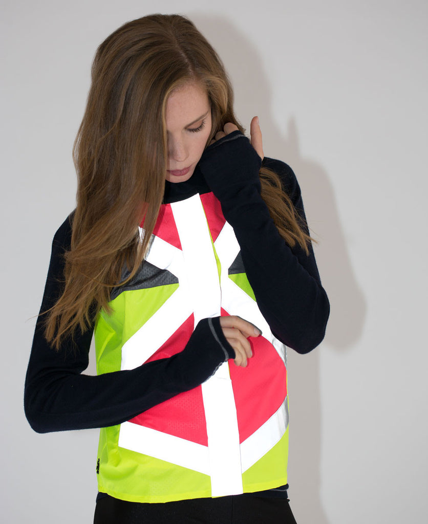As Bold As reflective cycling vest pink and yellow high vis from The Cycling Store