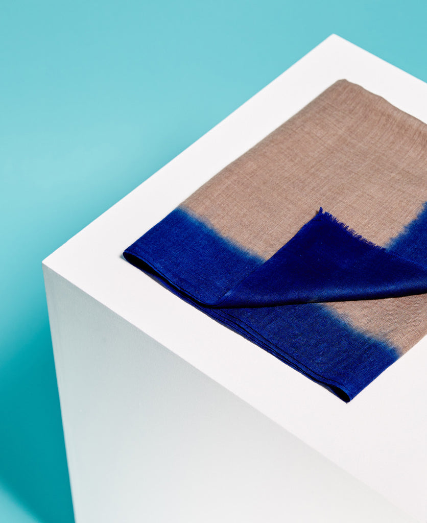 Silk hand dyed linen electric blue summer scarf from The Cycling Store
