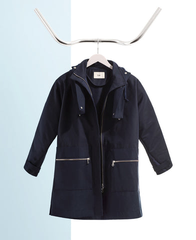 Folk navy blue raincoat outerwear from The Cycling Store