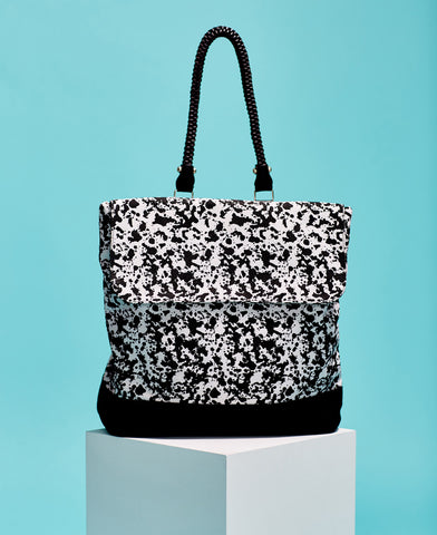 Kate Sheridan abstract print black and white cotton and leather rucksack backpack from The Cycling Store on Laura Scott
