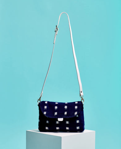 Kate Sheridan navy and white ikat print cotton and leather crossbody bag from The Cycling Store