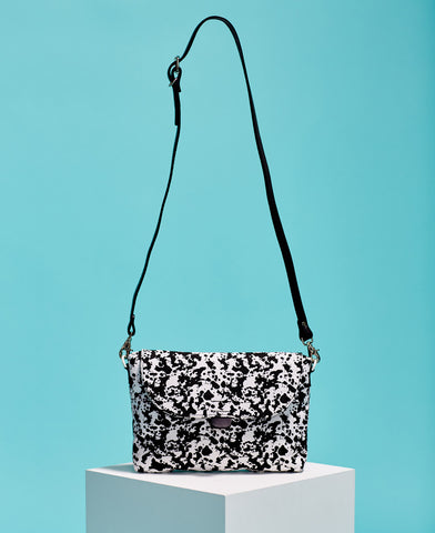 Kate Sheridan abstract print black and white cotton and leather crossbody bag from The Cycling Store